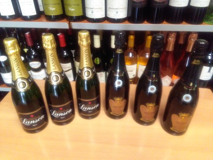 "3x Villa Rinaldi ""Dolce di Creme"" and 3x Champagne Lanson Black Label Brut - Lot of 6 bottles"
