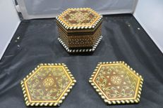 Inlaid Wood Star of David Music Box & Coasters
