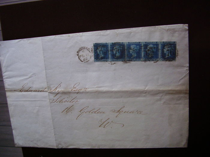 Great Britain 1862 - Envelope frontispiece of 4-5 ounces, franked with strip of 5 of Michel 17 Plate 9