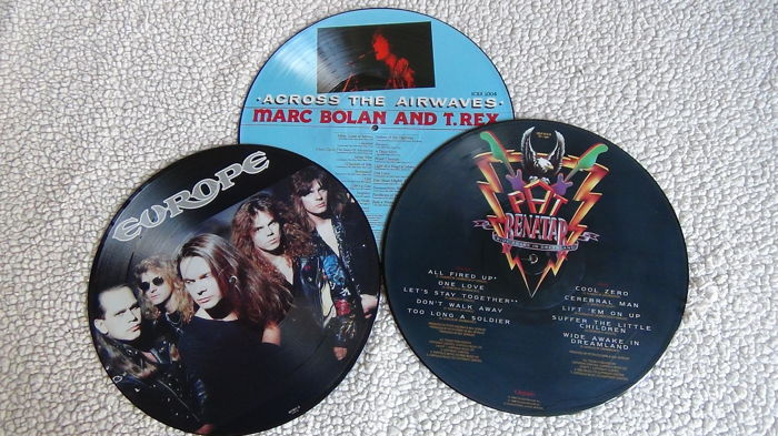 Lot of 3 picture discs: Europe - Halfway to heaven 1992/ Pat Benatar - Wide awake in Dreamland 1988 /Marc Bolan and T-Rex - Across the airwaves 1982