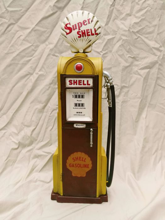 Shell - petrol pump with storage space - 44 x 14 cm - retro model