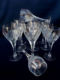 Lot of 11 cut and chiselled crystal glasses signed Murano Italo Varisco - 1945 Italy