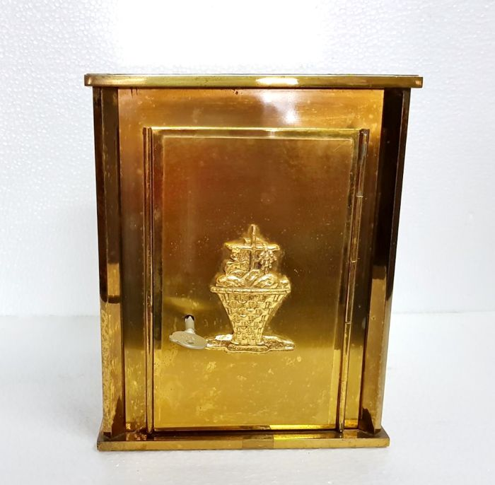 Solid brass tabernacle with chalice, sacred art, 1950s