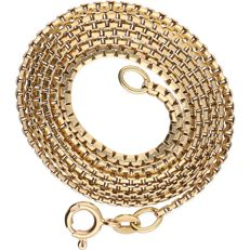 14 kt – Yellow gold flat Venetian link necklace – Length:  50.5 cm
