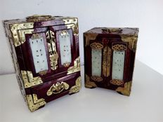Two Chinese jewellery boxes, original, made of solid wood - China - 2nd half of 20th century