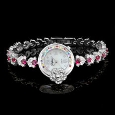 Difeini White Gold Plated Ladies Fancy Jewelry Bracelet Watch - 2015