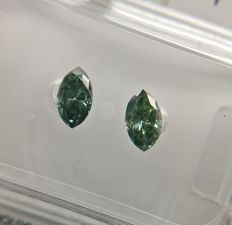 Lot of 2 Marquise cut diamonds total 0.51 ct Fancy Dark Bluish Green VS2-SI2