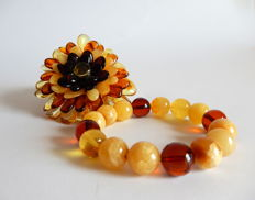 Handmade brooch and bracelet, natural Baltic Amber, 37 gram