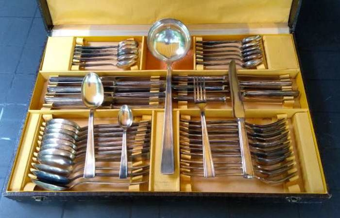 Art Deco - Full case with 49 pieces of silver plated cutlery
