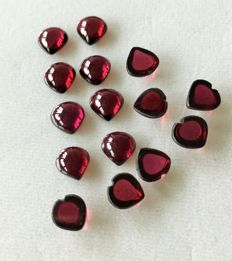 Lot of Natural Rodholite Garnet cabochons - 23ct ( 15)