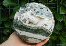 Orbicular Jasper Sphere with geodes - 158 mm - 5050 g