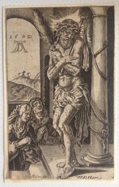 After Albrecht Dürer (1471-1528) - by Jan Baptist Goossens/Willem De Haen-  Christus als Man van Smarten bij de zuil - 1611