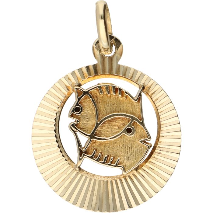 14 kt – Yellow gold pendant in the shape of the Pisces sign of the zodiac – Length x width: