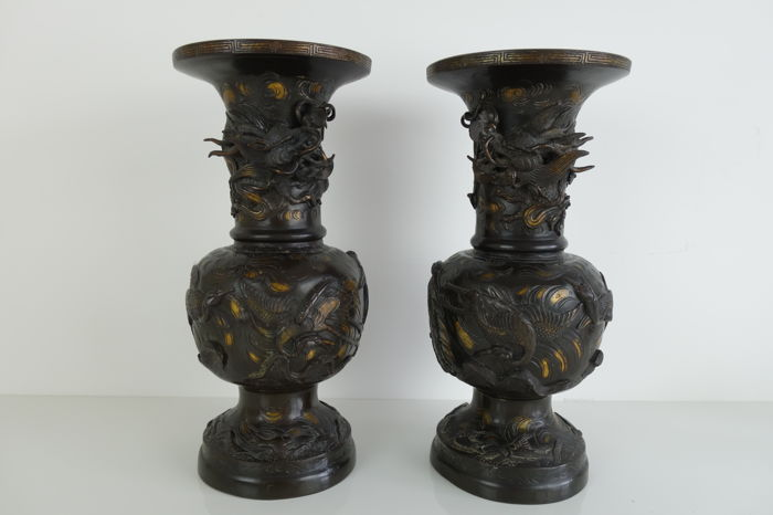 Pair (39 cm high) of beautiful decorative bronze vases - Japan ... Japanese Decorative Vases on decorative beads, decorative kitchenware, decorative porcelain, decorative containers, decorative art, decorative pillows, decorative curtains, decorative boxes, decorative bowls, decorative glassware, decorative pottery, decorative decanters, decorative cards, decorative bells, decorative index tabs, decorative perfume bottles, decorative glass, decorative planters, decorative flowers, decorative jugs,