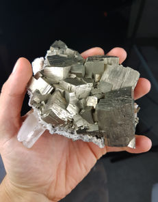 Cubic crystals of pyrite with gypsum - 12 x 9 x 6 cm - 850 gr