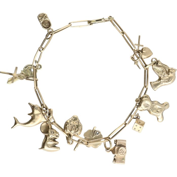 14 kt - Yellow gold bracelet with 12 charms - Length: 17 cm