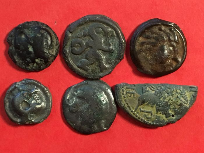 France (Gaul) - Lot of 6 Gallic coins (potins, demi-as)