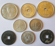 French Colonies – Batch of 8 coins (Laos, Tonkin, Vietnam) 1905/1953