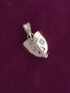 Pendant in 18 kt yellow gold with 2 brilliant cut diamonds for 0.04 ct, colour: G, clarity: VS