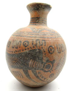 Indus Valley Painted Terracotta jar with Monkey Motif - 100x132 mm