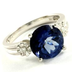 14k White Gold Ring 0.02 ct Diamonds & 3.00 ct Blue Topaz - 7.5