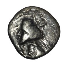 Parthian kingdom - Phraates IV. Late 1st century BC-early 1st century AD. AR drachm with Bactrian Eukratides-style counter mark.