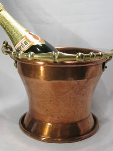 Heavy red brass wine cooler/bucket