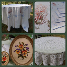 Tablecloth with napkins embroidered with peacock, crochet round tablecloth and 2 embroidered paintings in frames