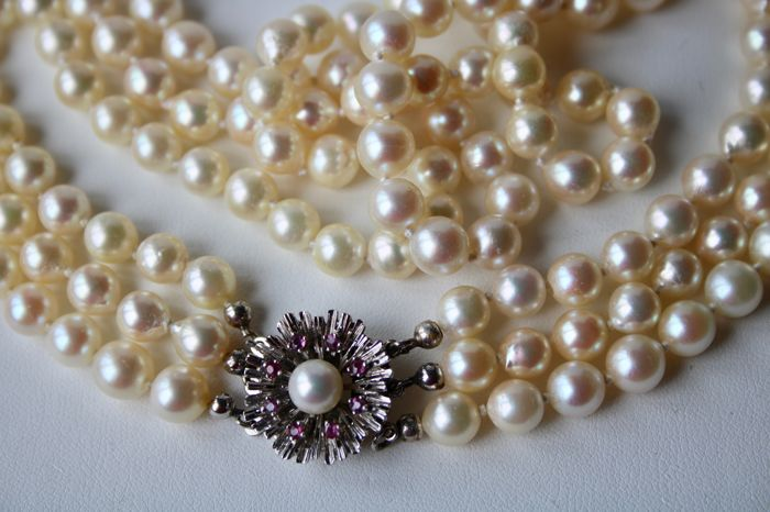 eaae07396de6a Three strand (3-row) antique pearl necklace with genuine Japanese See/Salty  pearls of approximately 7.1-7.4mm and a 14Kt. golden handkrafted beautiful  ...
