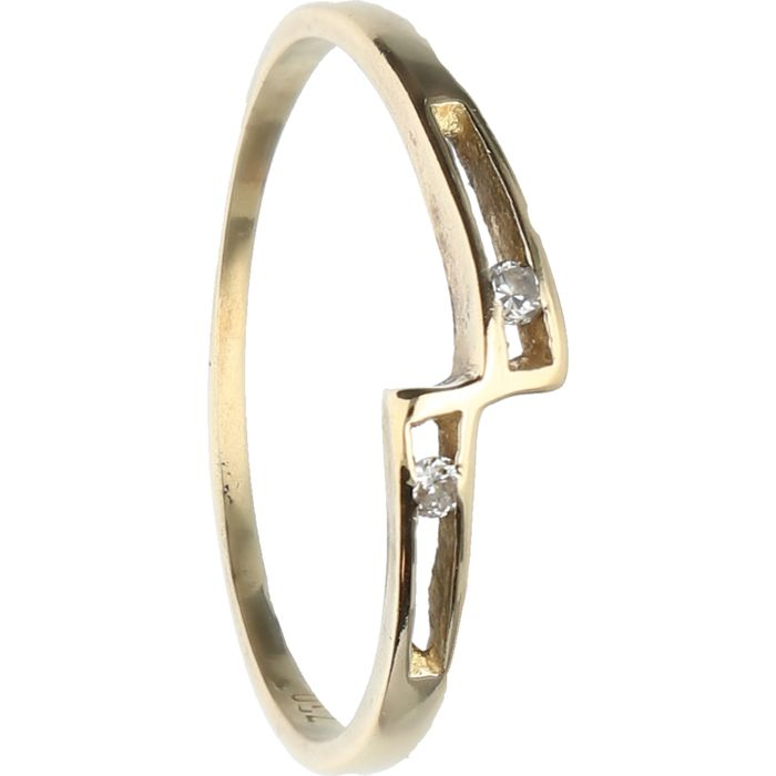 18 kt - Yellow gold ring set with 2 brilliant cut diamonds of in total approx. 0.02 ct - Ring size: 18.75 mm