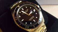 """Calvaneo 1583 """"Dive Carrier Black Gold"""" completely gold-plated Men's watch. Never worn"""