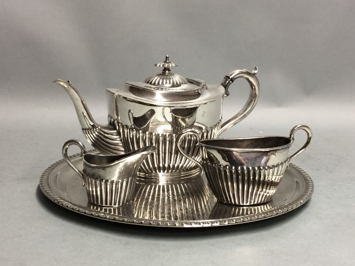 Silver plated tea set on a serving tray, Joseph Rodgers & Son, England, ca. 1900