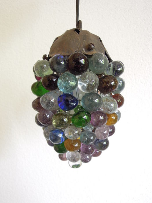 Hand-blown Murano glass grape light