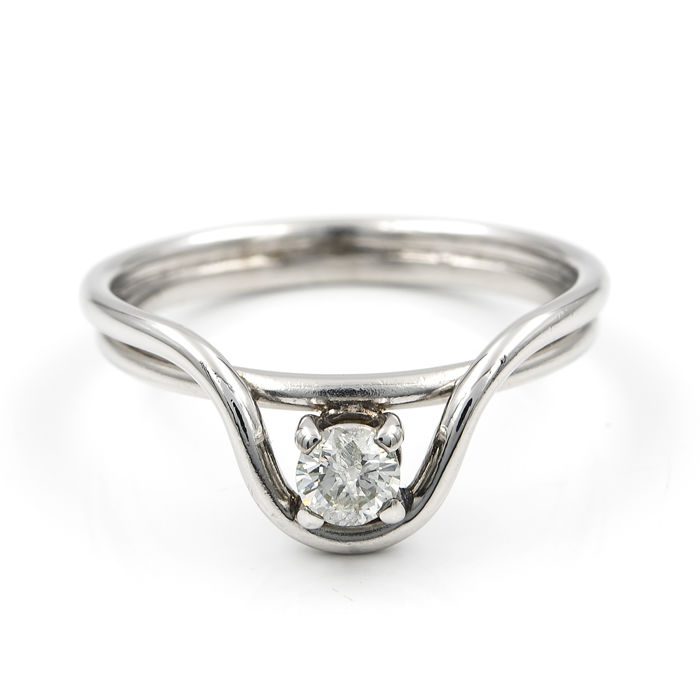18 kt/750 white gold - Cocktail ring - Diamond 0.25 ct  - Size 11 (Spain)
