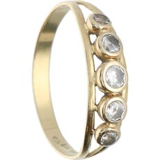 14 kt - Yellow gold ring set with five zirconias - Ring size: 16.75 mm