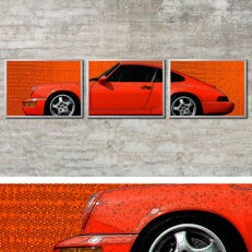 Porsche Designer - image in 3 aluminium frames: 964 RS 911 coupe red - exclusively designed by a designer with a diploma (university of applied sciences)