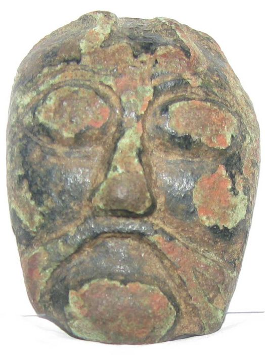 Early medieval bronze sculpture male head - 35 mm height ; 26 mm width; 7 mm thick