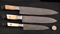 Set of three handcrafted Damask knives - handle from camel bone and horn - 200 + layers damask steel