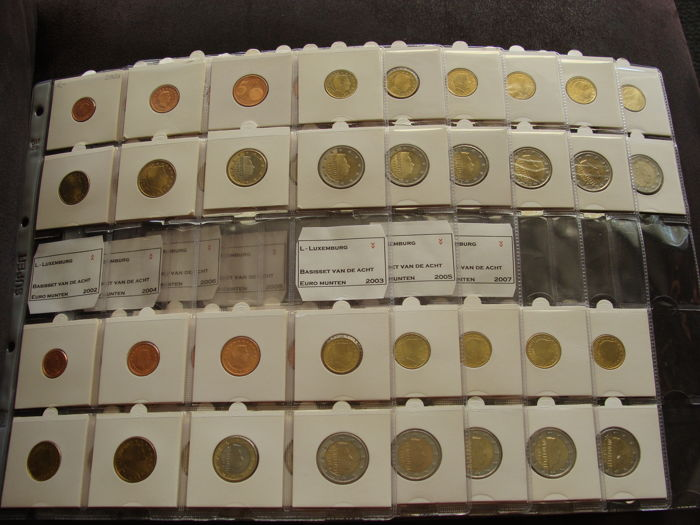 Luxembourg - Year packs 2002/2012 (11 different) in coin sheets