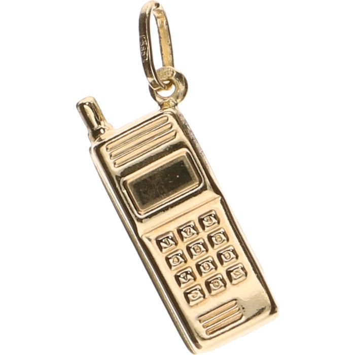 14 kt yellow gold pendant in the shape of a mobile phone – Length:  2.5 cm