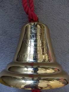 Large copper bell with Amstel beer inscription, second half of 20th century