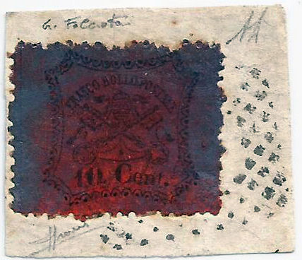 Papal State 1870 - 10 cent, 3rd issue with numeric cancellation (225 points) from the Italian itinerant, Sass. No. 26c