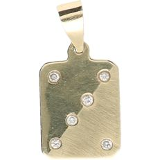 14 kt – Yellow gold pendant set with 6 diamonds of approx. 0.06 ct in total – Length x width: 2.4 x 1.2 cm