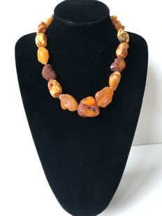 Natural Baltic Amber necklace in egg yolk colour, 78 gr.