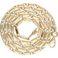 14 kt - Yellow gold fantasy curb link necklace - length: 42.5 cm