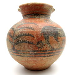Indus Valley Painted Terracotta Jar with Goat Motif - 110x115 mm