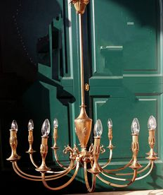 Brass chandelier with 12 arms - Italy, Venice - in the first quarter of the 19th century style - made in the 20th century