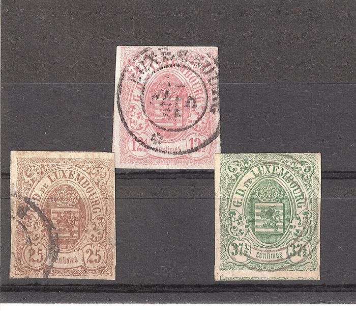 Luxembourg 1859 - Coat of arms - Prifix no. 7, 8 and 10