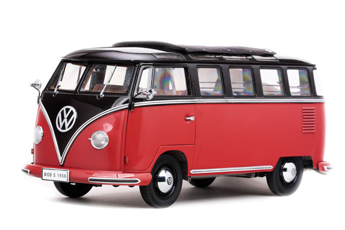 sun star schaal 1 12 vw t1 samba bus rood zwart. Black Bedroom Furniture Sets. Home Design Ideas