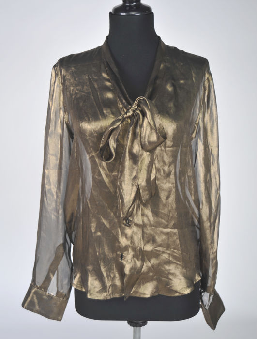 Gold Bottega Venetta pussy bow shirt Never worn